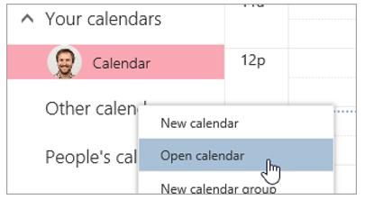 A screenshot of the Open calendar option