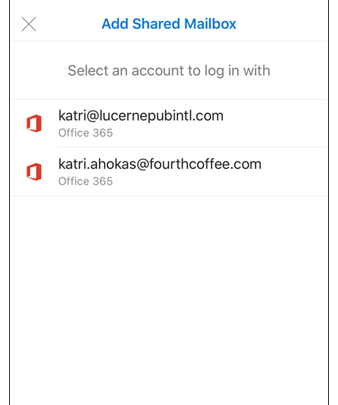 Select the account that has permissions to your shared mailbox.